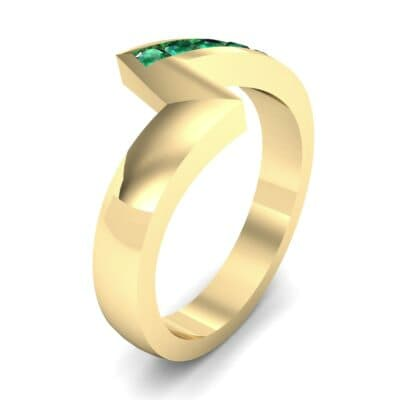 Asymmetrical Channel-Set Emerald Ring (0.24 Carat)