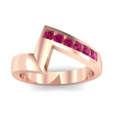 Asymmetrical Channel-Set Ruby Ring (0.24 Carat)