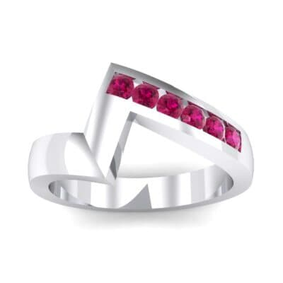 Asymmetrical Channel-Set Ruby Ring (0.24 Carat)