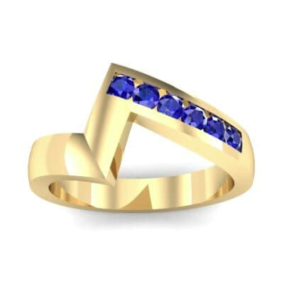 Asymmetrical Channel-Set Blue Sapphire Ring (0.24 Carat)