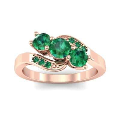 Three-Stone Emerald Bypass Engagement Ring (0.97 Carat)