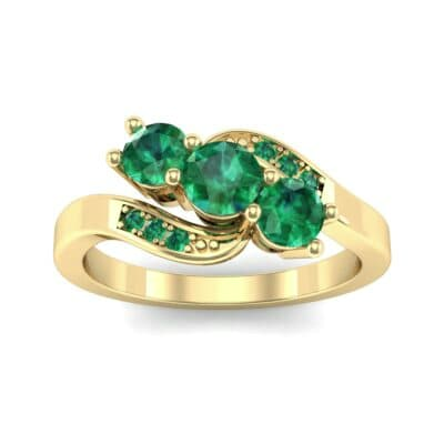 Three-Stone Emerald Bypass Engagement Ring (0.97 Carat)