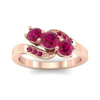 Three-Stone Ruby Bypass Engagement Ring (0.97 Carat)
