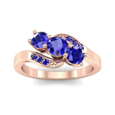 Three-Stone Blue Sapphire Bypass Engagement Ring (0.97 Carat)