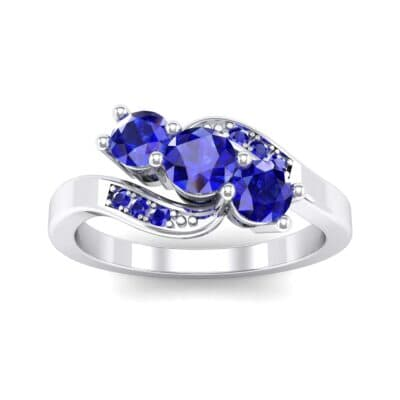 Three-Stone Blue Sapphire Bypass Engagement Ring (0.97 Carat)