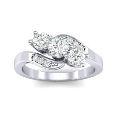 Three-Stone Diamond Bypass Engagement Ring (0.71 Carat)