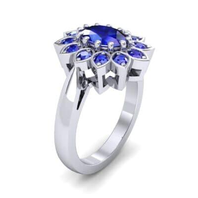 Dahlia Halo Blue Sapphire Engagement Ring (1.18 Carat)
