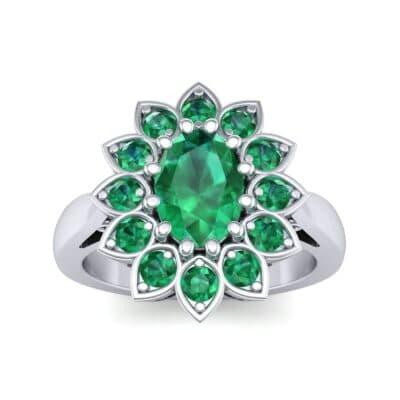 Dahlia Halo Emerald Engagement Ring (1.18 Carat)