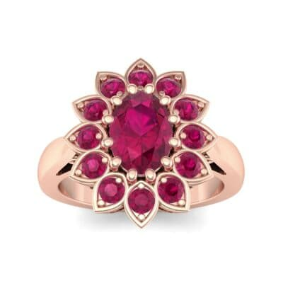 Dahlia Halo Ruby Engagement Ring (1.18 Carat)