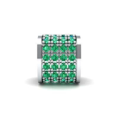 Pave Emerald Drum Charm (0.5 CTW) Perspective View