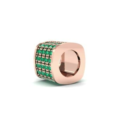 Pave Emerald Drum Charm (0.5 CTW) Top Dynamic View
