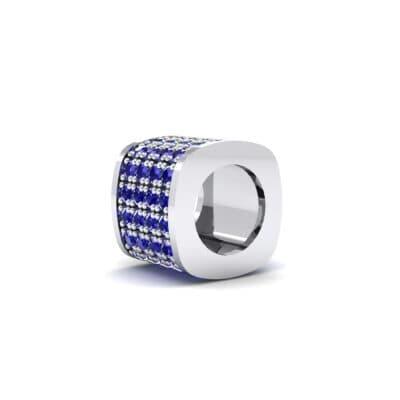Pave Blue Sapphire Drum Charm (0.5 CTW) Top Dynamic View