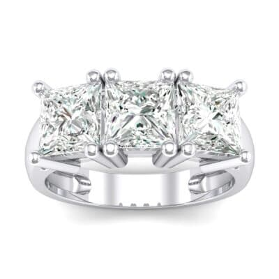 Princess-Cut Triplet Crystal Engagement Ring Top Dynamic View