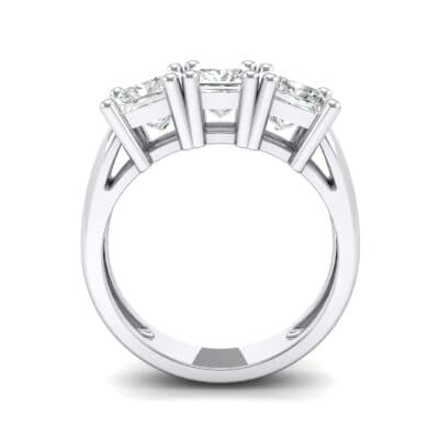 Princess-Cut Triplet Crystal Engagement Ring Side View
