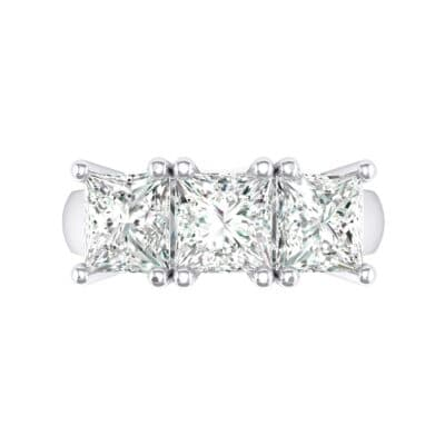Princess-Cut Triplet Crystal Engagement Ring Top Flat View