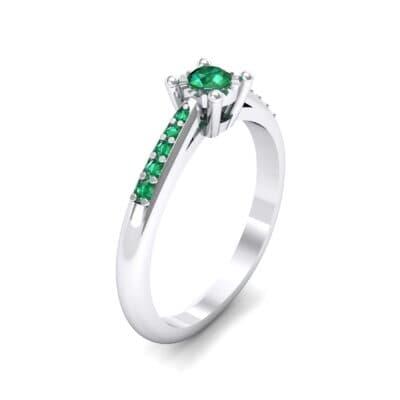Petite Illusion-Set Emerald Engagement Ring (0.23 Carat)