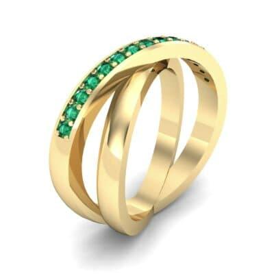 Half Pave Crisscross Emerald Ring (0.33 Carat)