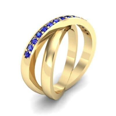 Half Pave Crisscross Blue Sapphire Ring (0.33 Carat)