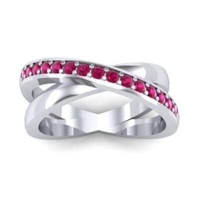 Half Pave Crisscross Ruby Ring (0.33 Carat)