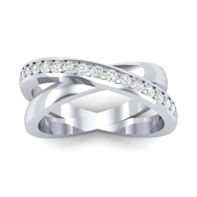 Half Pave Crisscross Diamond Ring (0.26 Carat)