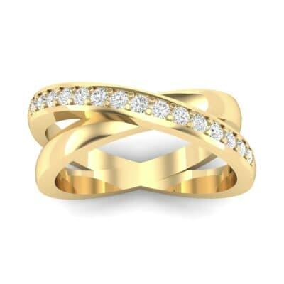 Half Pave Crisscross Diamond Ring (0.26 Carat)