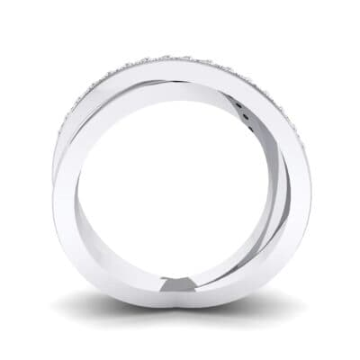 Half Pave Crisscross Crystal Ring (0.26 CTW) Side View