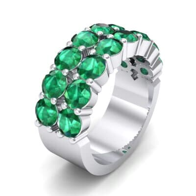 Two-Row Shared Prong Emerald Ring (6.08 Carat)