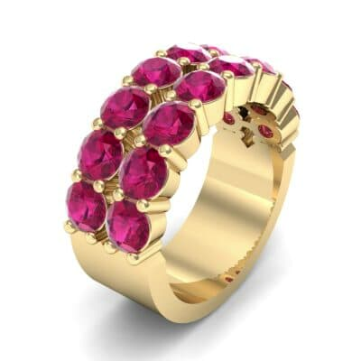 Two-Row Shared Prong Ruby Ring (6.08 Carat)