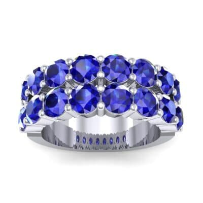 Two-Row Shared Prong Blue Sapphire Ring (6.08 Carat)