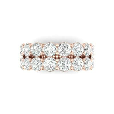 Two-Row Shared Prong Diamond Ring (4 CTW) Top Flat View