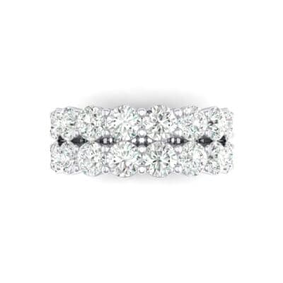 Two-Row Shared Prong Crystal Ring (4 CTW) Top Flat View