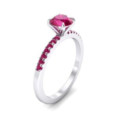 Thin Claw Prong Pave Ruby Engagement Ring (0.85 Carat)