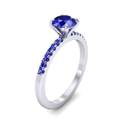 Thin Claw Prong Pave Blue Sapphire Engagement Ring (0.85 Carat)