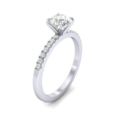 Thin Claw Prong Pave Diamond Engagement Ring (0.6 Carat)