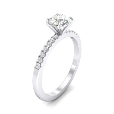 Thin Claw Prong Pave Crystal Engagement Ring (0.6 CTW)