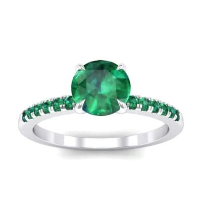 Thin Claw Prong Pave Emerald Engagement Ring (0.85 Carat)