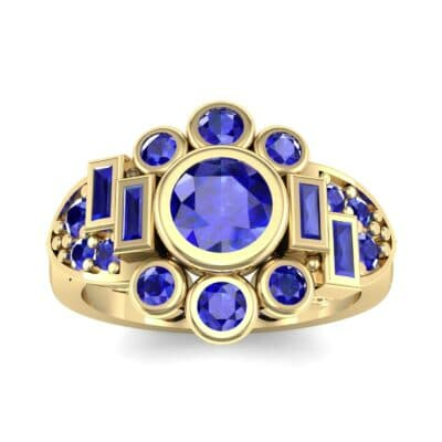 Abstract Blue Sapphire Shield Engagement Ring (1.5 Carat)