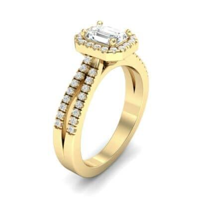 Emerald Halo Reverse Split Shank Diamond Engagement Ring (0.83 Carat)