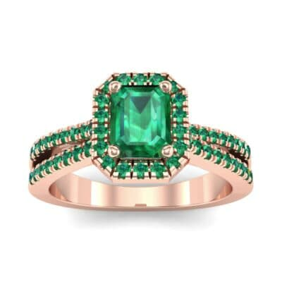 Emerald Halo Reverse Split Shank Emerald Engagement Ring (1.11 Carat)