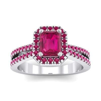 Emerald Halo Reverse Split Shank Ruby Engagement Ring (1.11 Carat)