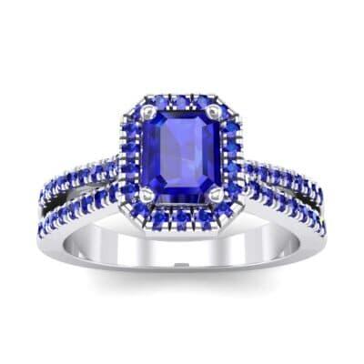 Emerald Halo Reverse Split Shank Blue Sapphire Engagement Ring (1.11 Carat)