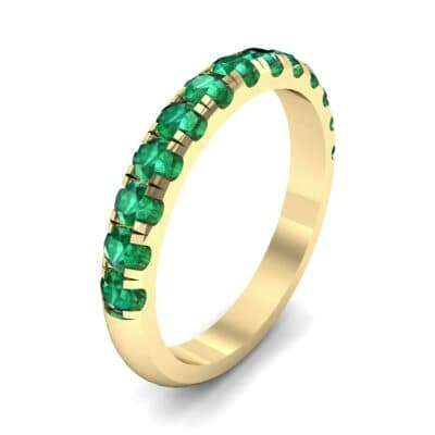Classic Half Pave Emerald Ring (0.52 Carat)