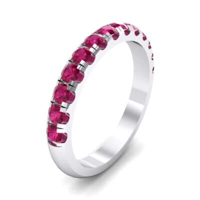 Classic Half Pave Ruby Ring (0.52 Carat)