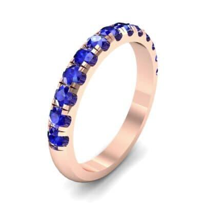 Classic Half Pave Blue Sapphire Ring (0.52 Carat)