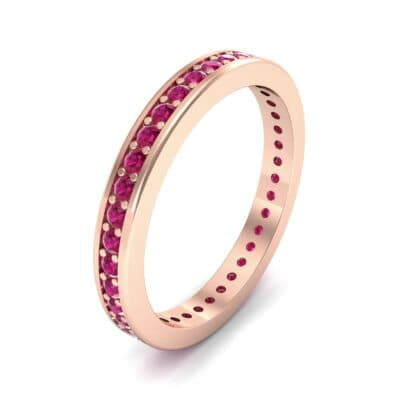 Flat-Sided Pave Ruby Eternity Ring (0.76 Carat)