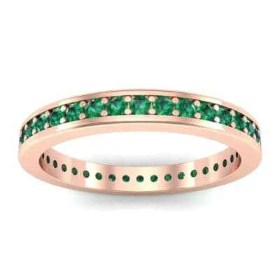 Flat-Sided Pave Emerald Eternity Ring (0.76 Carat)