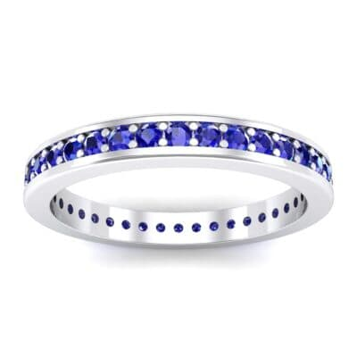 Flat-Sided Pave Blue Sapphire Eternity Ring (0.76 Carat)