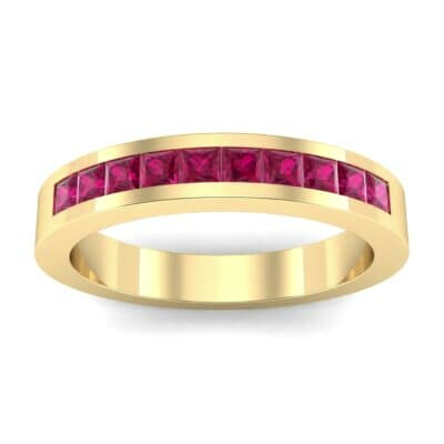 Channel-Set Princess-Cut Ruby Ring (0.8 Carat)