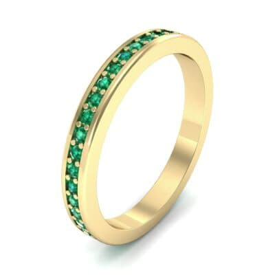 Light Flat-Sided Pave Emerald Eternity Ring (0.63 Carat)