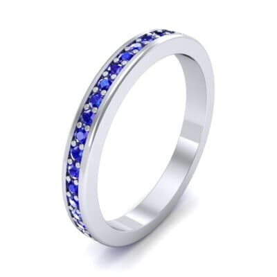 Light Flat-Sided Pave Blue Sapphire Eternity Ring (0.63 Carat)